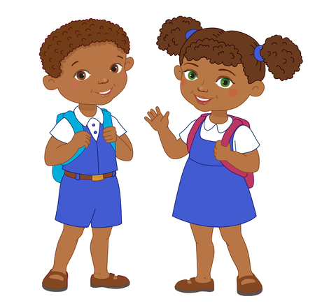 cheerfulness: Boy and girl with backpacks african pupil stay cartoon school isolated vector