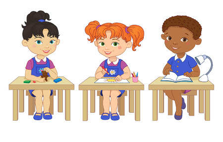 pupil's: Funny pupils sit on desks read draw clay cartoon asian african isolated illustration Illustration