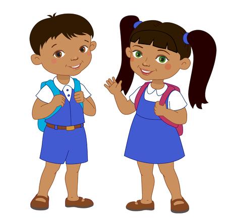 cartoon school girl: Boy and girl with backpacks african pupil stay cartoon school isolated vector