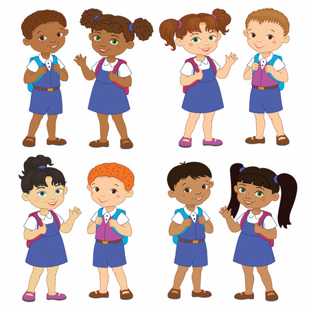 cheerfully: Set boy and girl with backpacks african pupil stay cartoon school india, europen isolated vector