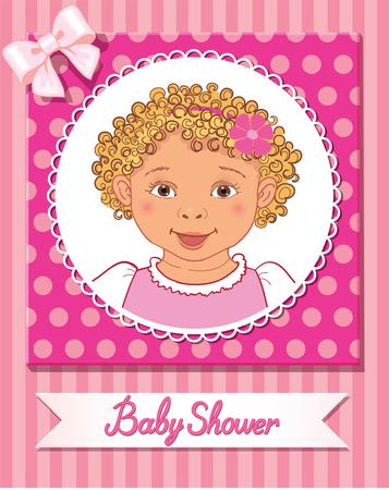 Postcard of baby shower with cute nice girl on pink background vector
