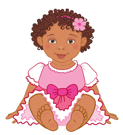 princes: Cute African American baby girl in pink dress Happy princes Vector Illustration isolated Illustration