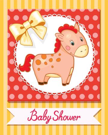 bebé de dibujos animados sonrisa del caballo aislado Ilustración simple vector