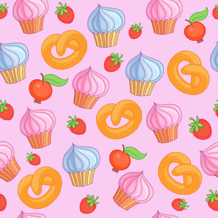 Sweet pattern cakes on pink vector background. Seamless.