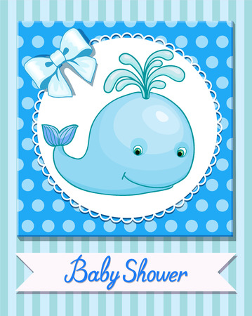 little whale cartoon funny postcard baby shower toy vector illustration
