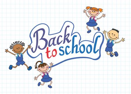 school teens: banner back to school boy girl pupil lettering vector illustration