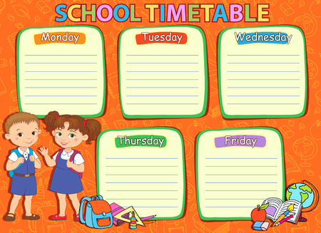 thematic: School timetable thematic image 7 - vector illustration.
