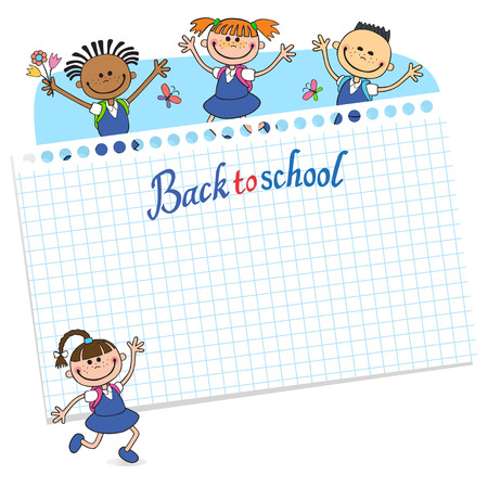 batterfly: banner back to school boy girl pupil lettering vector letter illustration