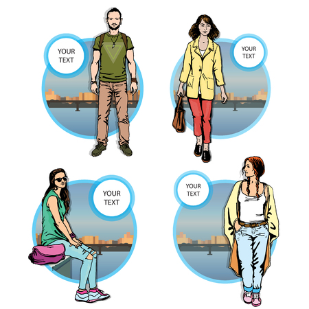 citizen: set citizen hipster character, illustration man on city background river in circle shape