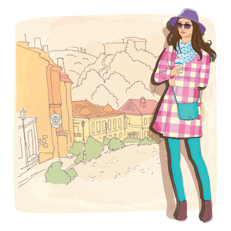 autumn woman: Pretty fashion girl in hat with coffee, sketch style on a street town background.