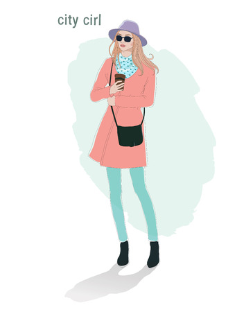 Beautiful young  women girl in a fashion  jacket in glasses and hat with cap of coffee. hipster stile hand drawn isolated illustration.