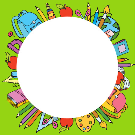 Seamless pattern with set of different school things circle for text Illustration