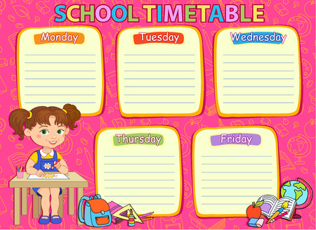 school schedule: School timetable schedule image girl pink illustration.
