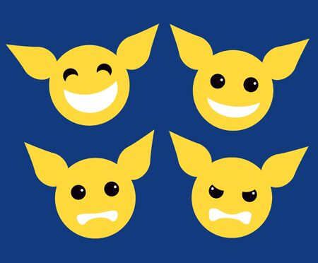 yellow character: set icon yellow character mood, game find outside, flat style design element illustration on blue background