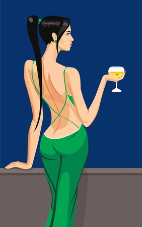 sinful: cirl lady black haer standing back on the balcony with a glass of champagne wine in night sky club bar illustration Illustration