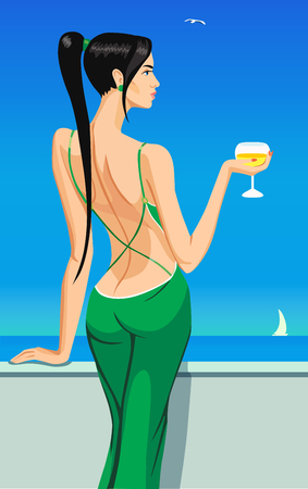 sinful: girl lady black hair standing back on the balcony with a glass of champagne wine in sea sky club bar  illustration Illustration