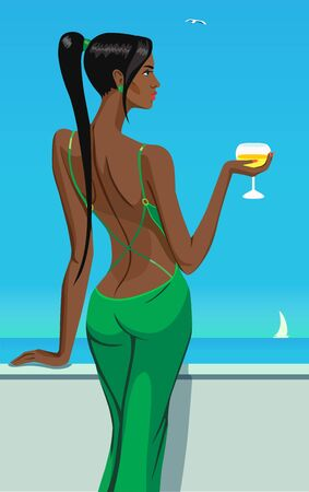 sinful: girl lady black hair standing back on the balcony with a glass of champagne wine in sea sky club bar illustration