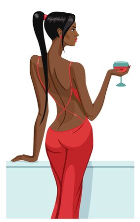 sinful: girl lady black hair standing back on the balcony with a glass of champagne wine isolated illustration