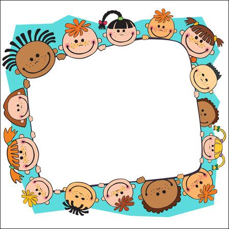 bunner: illustration of kids bunner around gildren behind poster vector