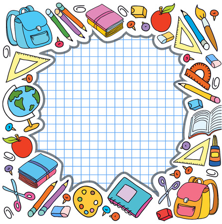 bunner: bunner cell sheet in cage with set of different school things bag apple vector illustration
