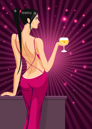 busty: girl lady in red black hair standing back on the night club bar with a glass of champagne wine vector illustration