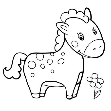 Bebé De Dibujos Animados Caballo Blanco Y Negro Para Colorear Sonrisa Aislados Ilustración Vectorial Simple