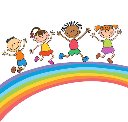 Kids jumping with joy on a meadow under rainbow, colorful cartoon vector