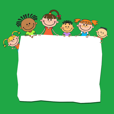 illustration of kids peeping behind banner green color vector