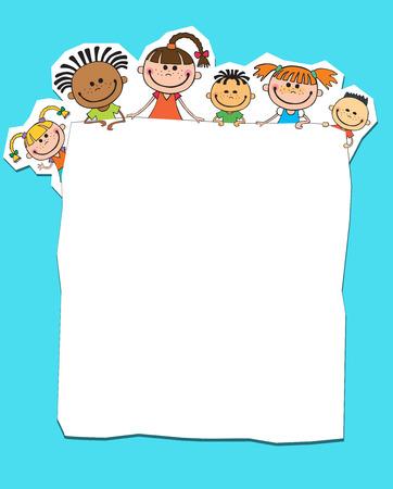 バナー青の色ベクトルの背後にあるのぞきの子供たちのイラスト