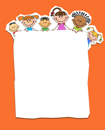 illustration of kids peeping behind banner orange color vector