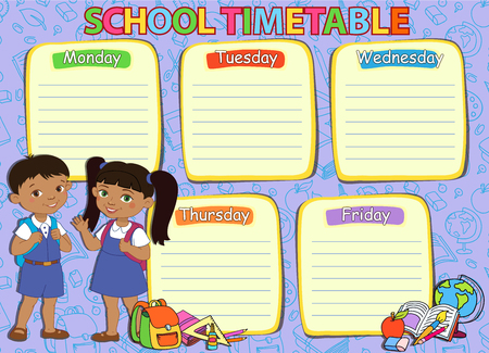 pupil: School timetable schedule with pupil Mexican vector illustration.