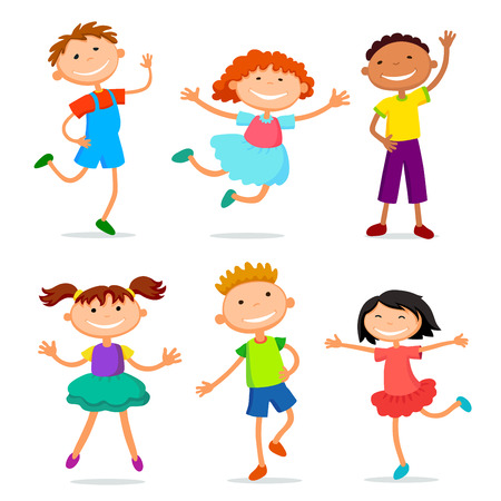 collection of happy children in different positions vector illustration