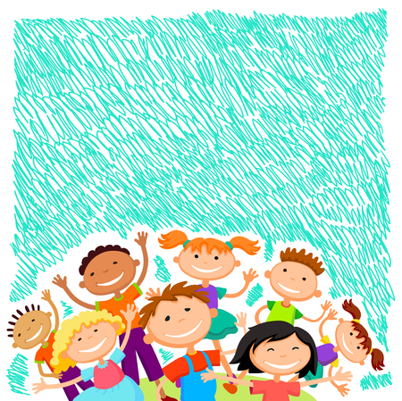 Colorful template for advertising brochure with a group of cute happy cartoon kids playing green background Illustration