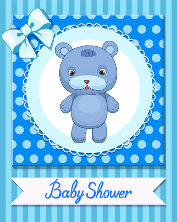 child holding sign: Funny Toy Bear design postcard baby shower vector Animal Child