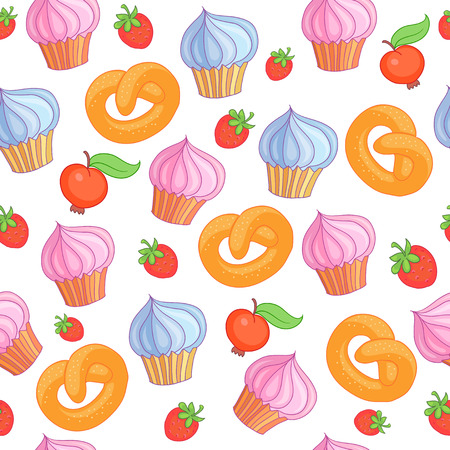 Sweet pattern cakes on white vector background. Seamless.