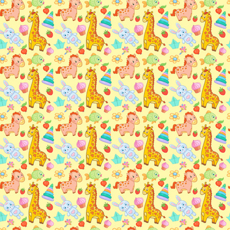 Baby toys seamless pattern vector animal background wallpaper for kid.