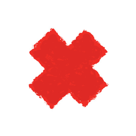 two stroke: Red Letter X made with brush paint ink. Mark grunge style. vector illustration
