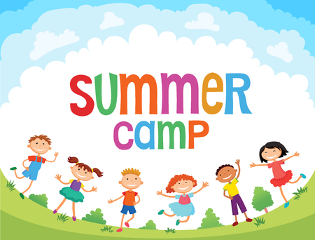 kinder garden: children are jumping on the glade, bunner cartoon funny vector, Ready for your message. blank template character. illustration summer camp