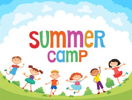 los niños están saltando en el claro, vector de dibujos animados divertido bunner, listo para su mensaje. carácter plantilla en blanco. ilustración de un campamento de verano