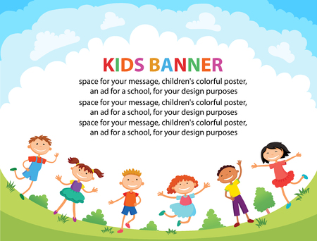 bunner: children are jumping on the glade, bunner cartoon funny vector, Ready for your message. blank template character. illustration