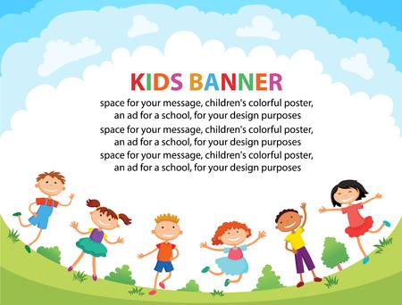 jardin de infantes: los niños están saltando en el claro, vector de dibujos animados divertido bunner, listo para su mensaje. carácter plantilla en blanco. ilustración Vectores