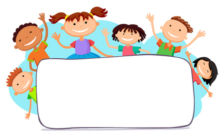 illustration of kids peeping behind horizontal banner vector