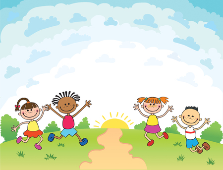 children are jumping on the glade, bunner cartoon funny vector, Template for advertising brochure. Ready for your message. blank template  character. illustration Illustration