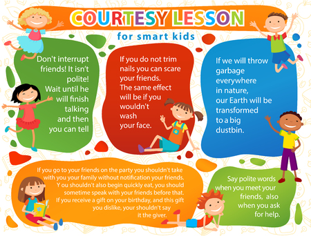 a courtesy: Vector brochure backgrounds with cartoon children. Infographic template design. Courtesy lesson for children rights to the banner advertisement for children illustration