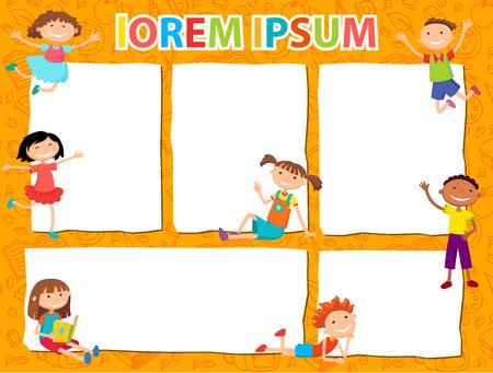 Vector -broschürehintergründen mit Cartoon Kinder. Infografik Template-Design. Courtesy Lektion für Kinderrechte auf die Banner-Werbung für Kinder Illustration