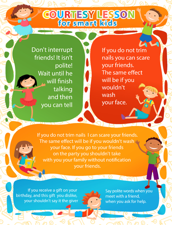 Vector brochure backgrounds with cartoon children. Infographic template design. Courtesy lesson for children rights to the banner advertisement for children illustration horizontal