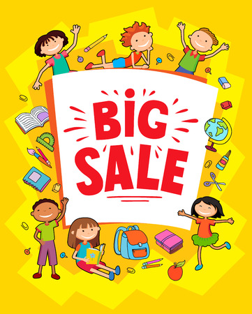 kid pointing: Children near paper. Template for advertising brochure. Ready for your message. Kid pointing at a blank big sale. Funny cartoon character. Vector illustration Illustration