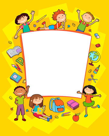 Children near paper. Template for advertising brochure. Ready for your message. Kid pointing at a blank school tools,. Funny cartoon character. Vector illustration