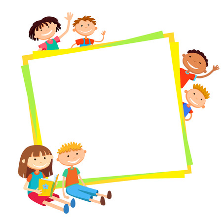 illustration of kids bunner around square banner behind poster vector isolated Illustration