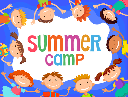 bunner: children are jumping on the glade, bunner cartoon funny vector, Ready for your message. blank template character. illustration summer camp